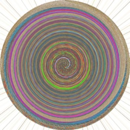 Da Vinci Code, a spiral of color moving ever inward, from pale brown to shocking green