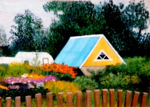 A yellow house with a blue roof, sitting in a garden