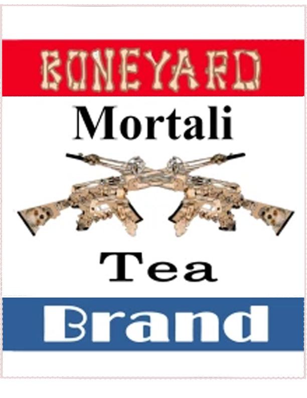 A teabag paper for Boneyard Brand Mortali-Tea